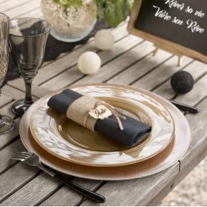 Marque place vintage en bois par 6