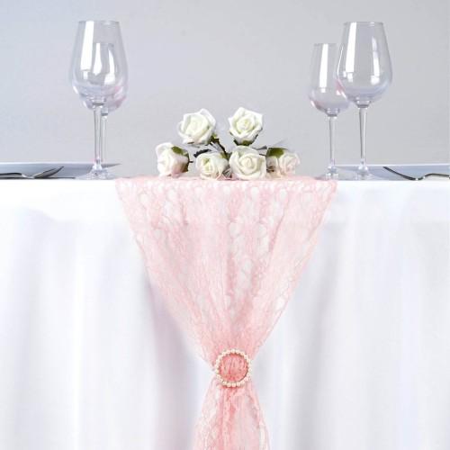 Chemin de table en dentelle rose poudré