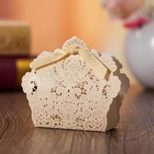 Boite à dragées élégance dentelle ivoire par 10