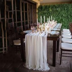 Chemin de table mousseline blanche
