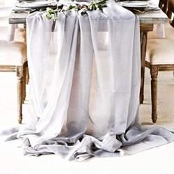 Chemin de table mousseline gris