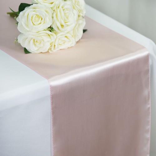 Chemin de table mariage satin rose poudré