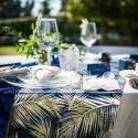 Chemin de table bleu marine feuillage doré