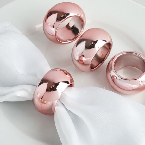 Rond de serviette mariage rose gold par 4