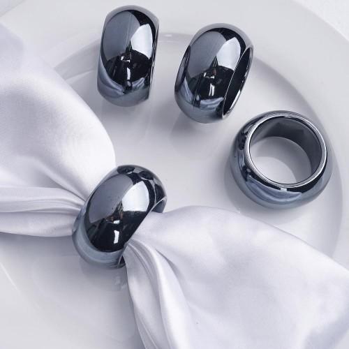 Rond de serviette mariage gris anthracite par 4