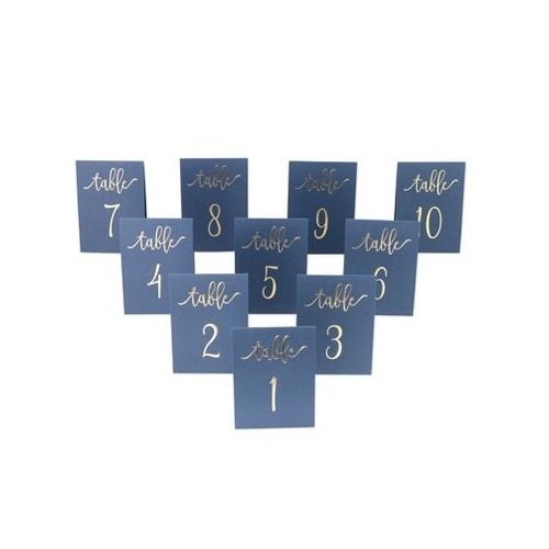 Numéro de table bleu marine et or par 10