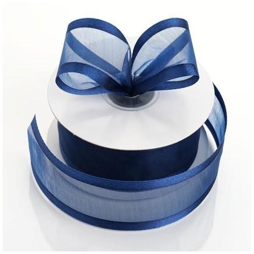 Ruban organdi bord satin bleu marine