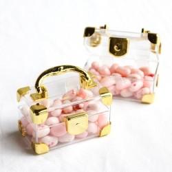 Valise à dragées dorée par 2