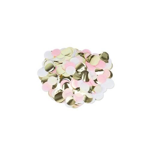 Confettis rose, or et blanc