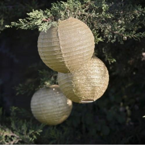 Lanterne pailletée dorée