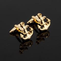 Boutons de manchette ancre marine doré