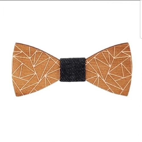 Noeud papillon en bois motif géométrique