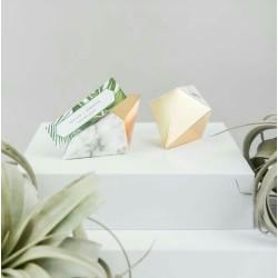 Boite à dragées géométrique marbre et or par 6