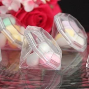 Boite à dragées diamant transparent par 10