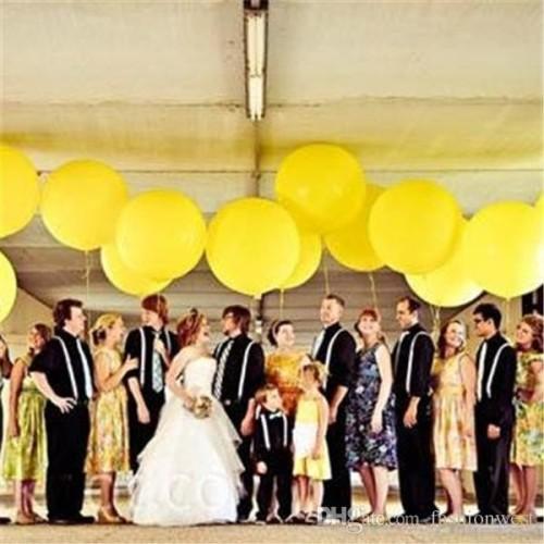 Ballon mariage géant jaune