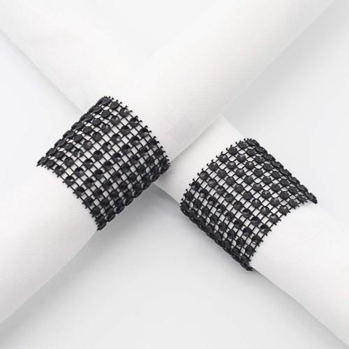 Rond de serviette strass noir par 5