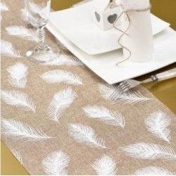 Chemin de table naturel plumes