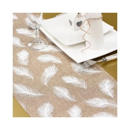 Chemin de table naturel plumes