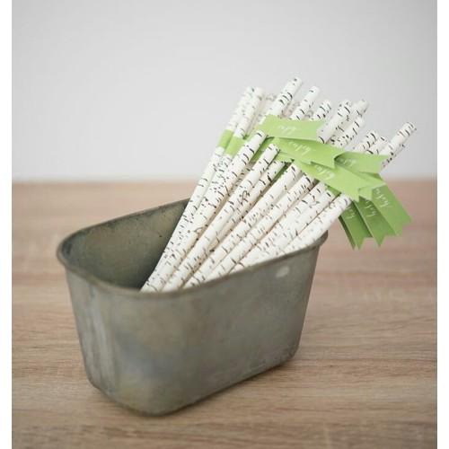 Paille en papier imitation bois par 25