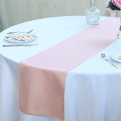 Chemin de table polyester rose poudré