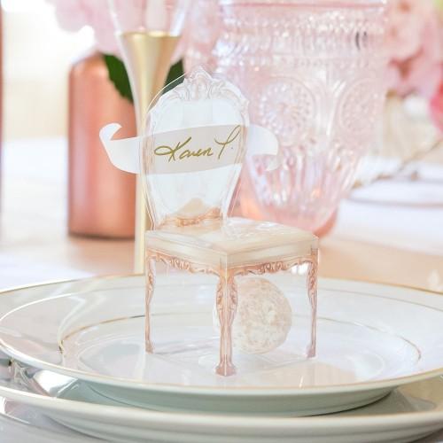 Boite à dragées chaise or transparente par 10