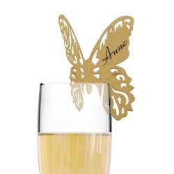 Marque place papillon doré par 10