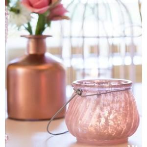 Photophore avec anse rose poudré
