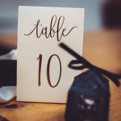 Numéro de table ivoire et doré par 10