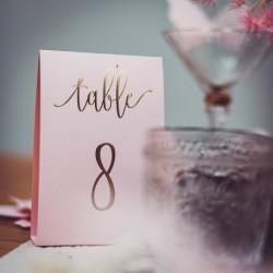 Numéro de table rose poudré et or par 10