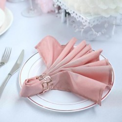 Serviette de table rose poudré par 5