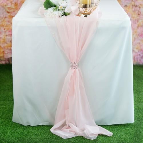 Chemin de table mousseline blush