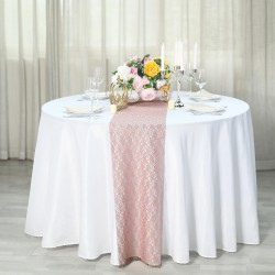 Chemin de table en dentelle rose blush