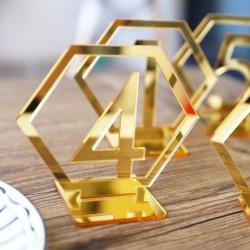 Numéro de table plexiglas doré par 10