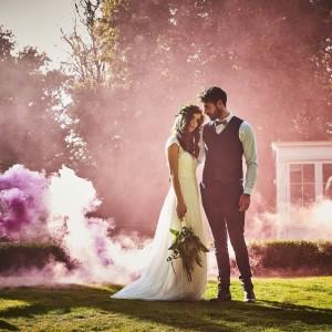 Fumigène mariage rose