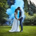 Fumigène mariage bleu