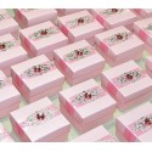 Boite à dragées broche rose par 5