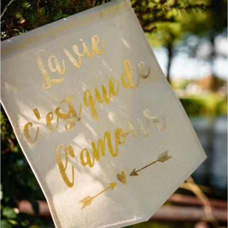 Bannière de mariage en lin