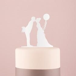 Silhouette mariés au ballon