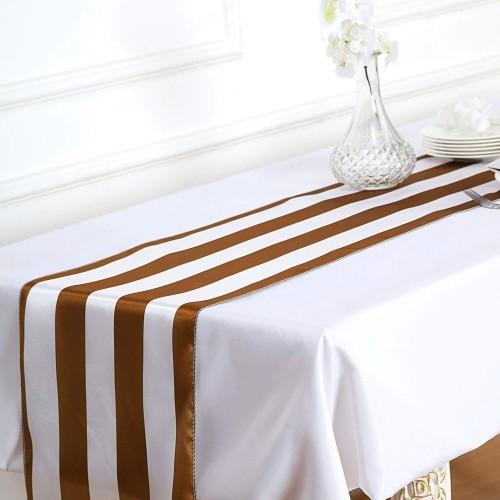 Chemin de table rayé or et blanc