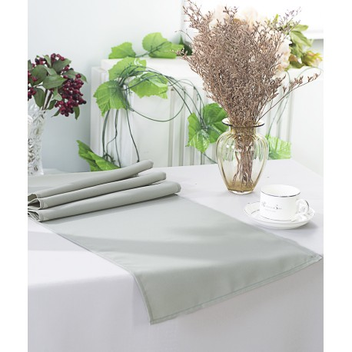 Chemin de table polyester gris perle