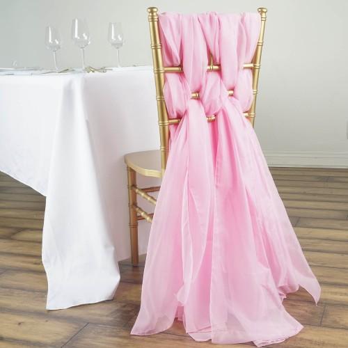 Chemin de table mousseline rose pale