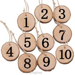 Numéro de table en bois par 10