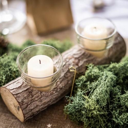 Photophore rustique en bois