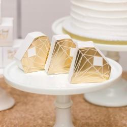 Boite à dragées diamant or par 10