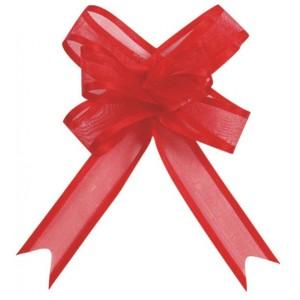 Mini noeud organdi rouge par 10