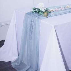 Chemin de table mousseline bleu poudré