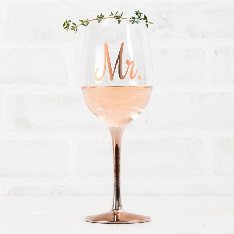 Verre à vin rose gold Mr