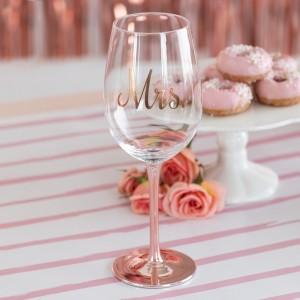 Verre à vin rose gold Mrs