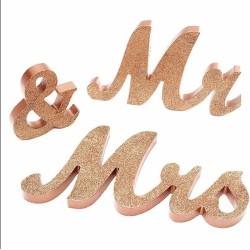 Mr & Mrs pailletté rose gold