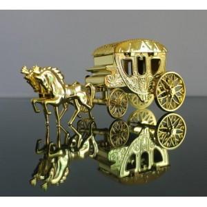 Boite à dragées carrosse or par 5